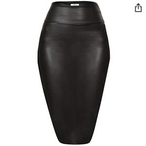 Vegan leather stretch skirt